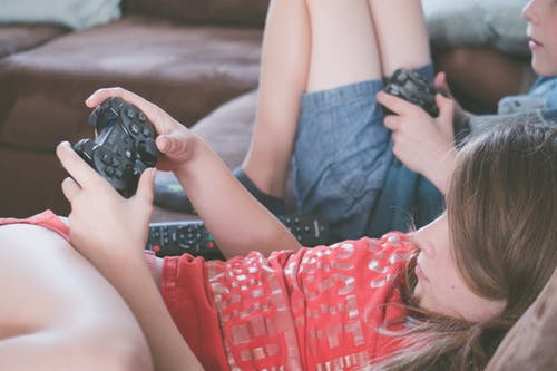 Kids on Couch playing video games